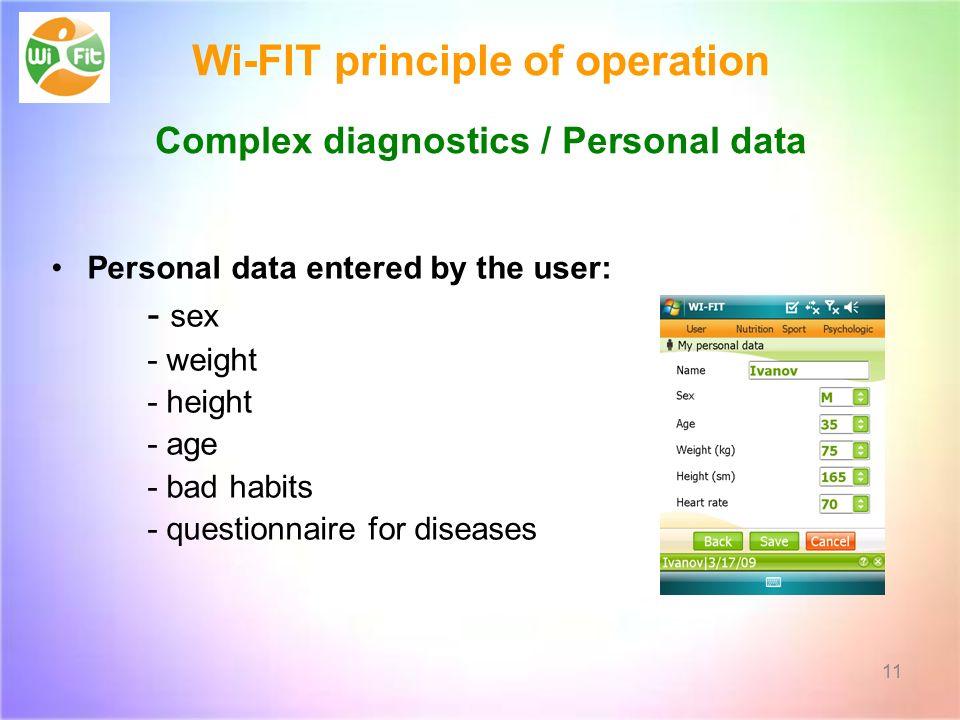 Wi-FIT principle of operation Complex diagnostics / Personal data