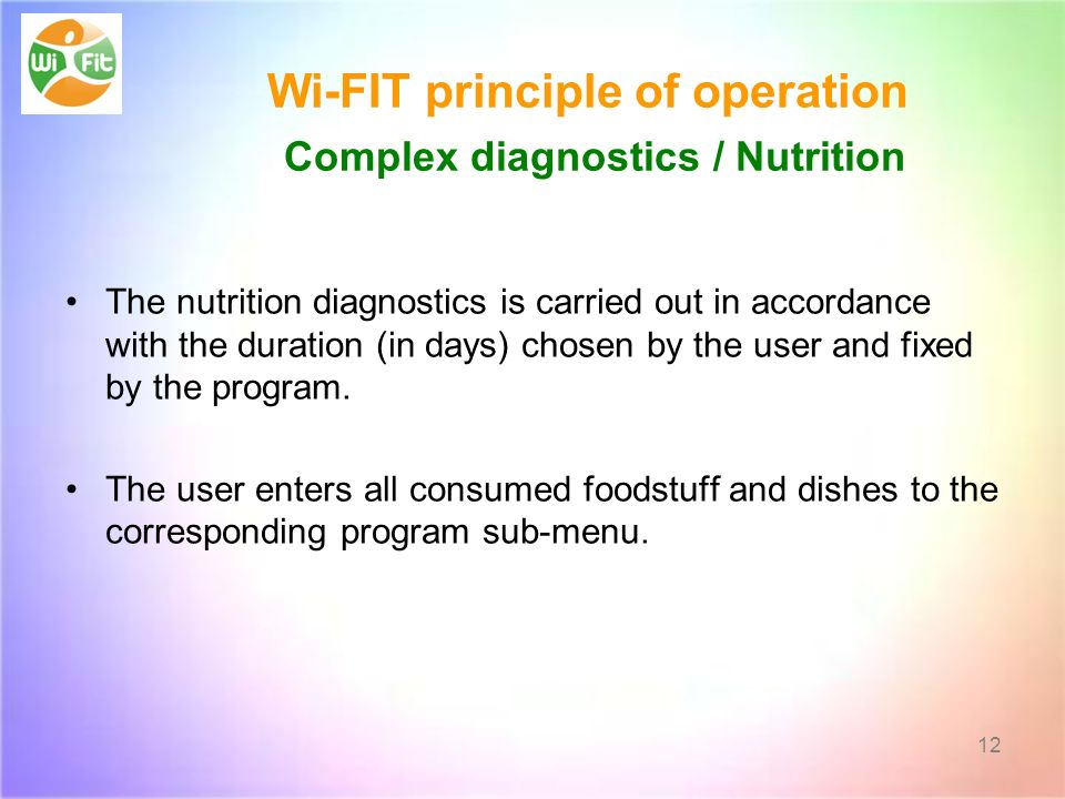 Wi-FIT principle of operation Complex diagnostics / Nutrition