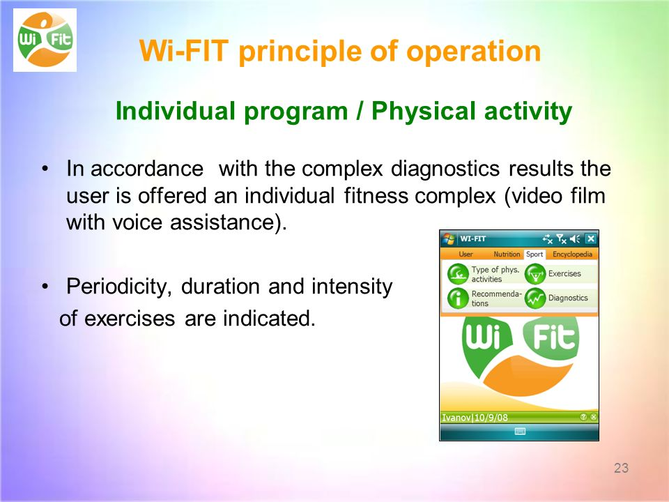 Wi-FIT principle of operation Individual program / Physical activity