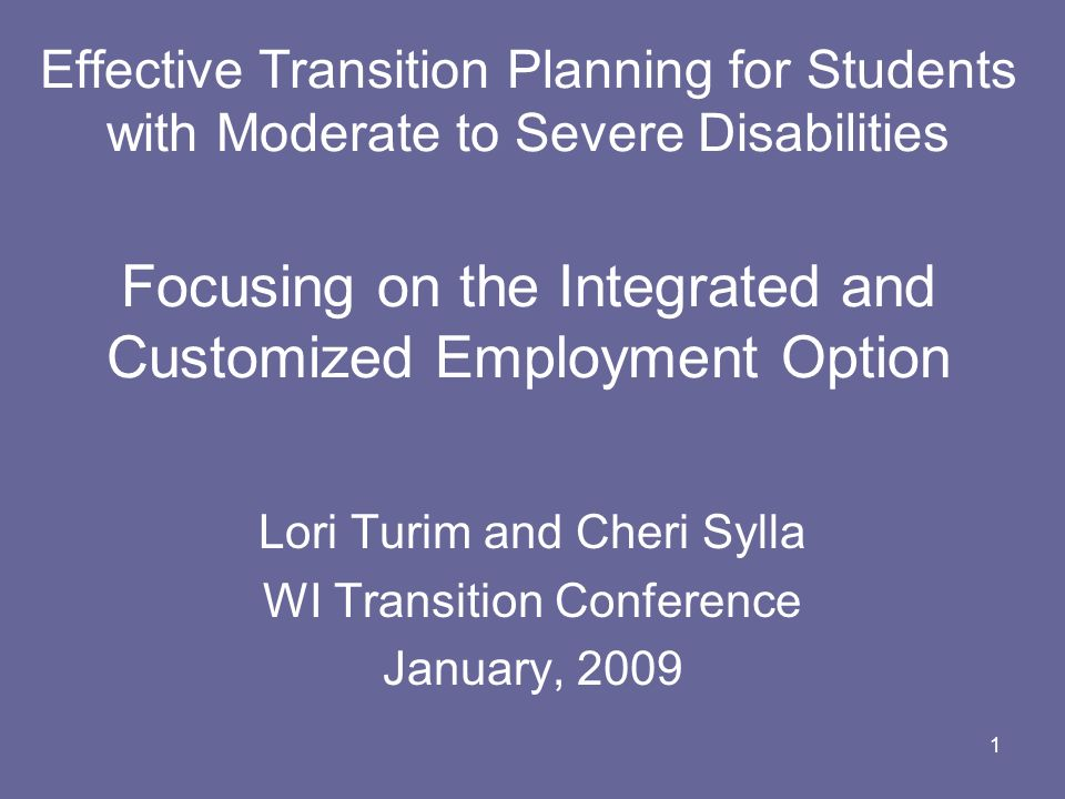 Lori Turim and Cheri Sylla WI Transition Conference January, 2009