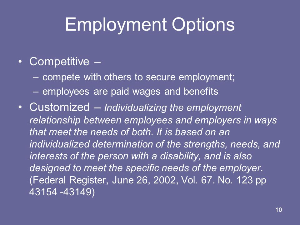 Employment Options Competitive –