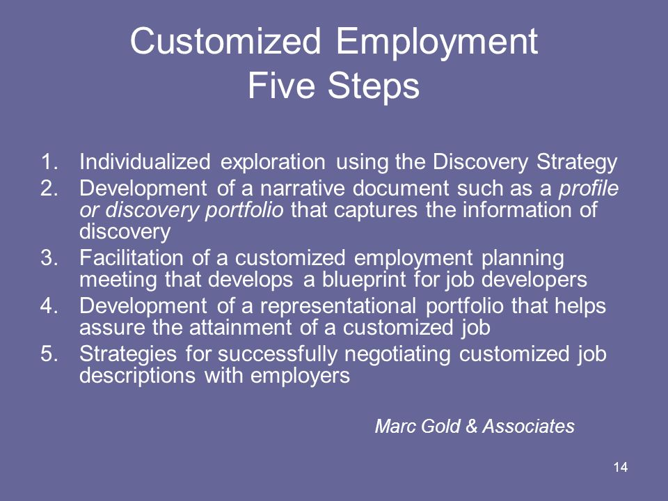 Customized Employment Five Steps