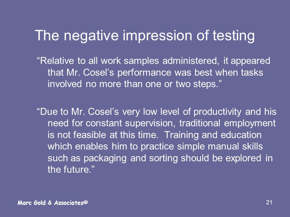The negative impression of testing