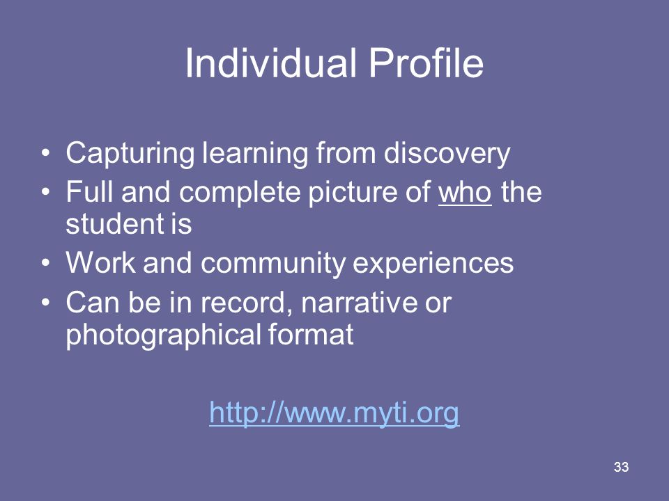 Individual Profile Capturing learning from discovery