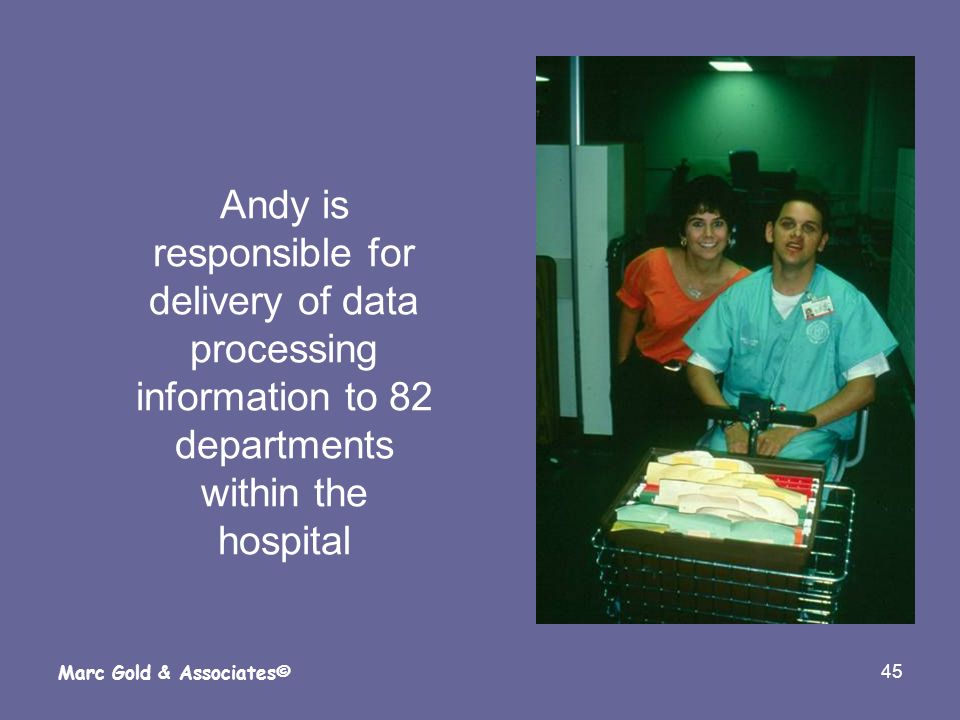 Andy is responsible for delivery of data processing information to 82 departments within the hospital