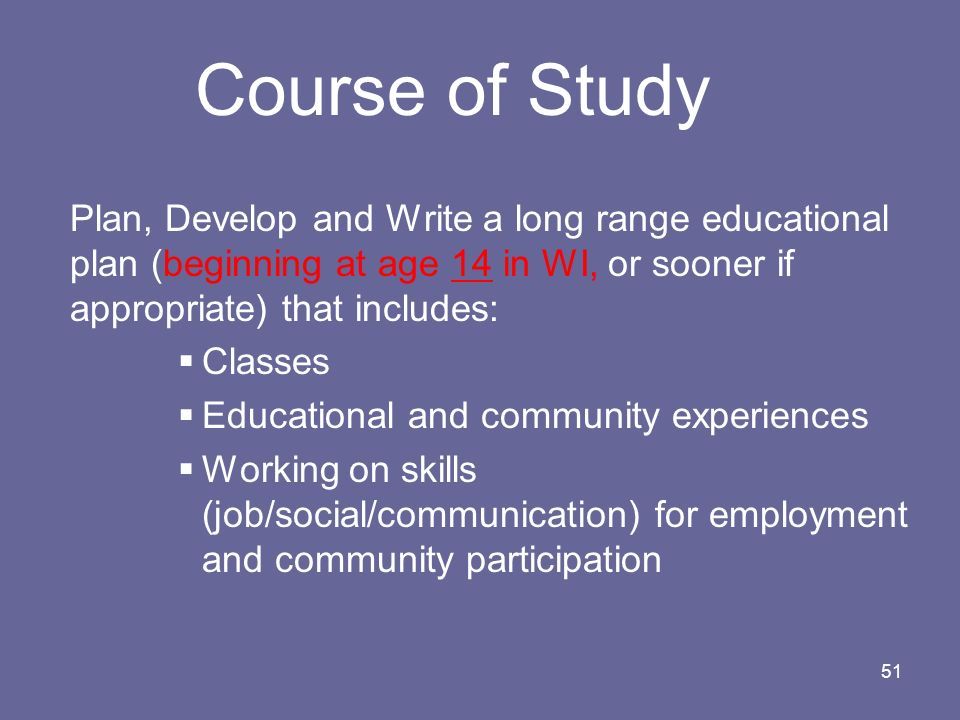 Course of Study Classes Educational and community experiences