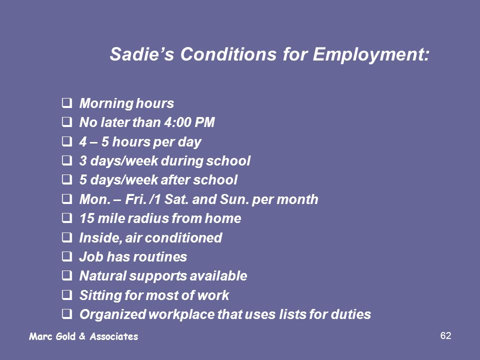 Sadie's Conditions for Employment: