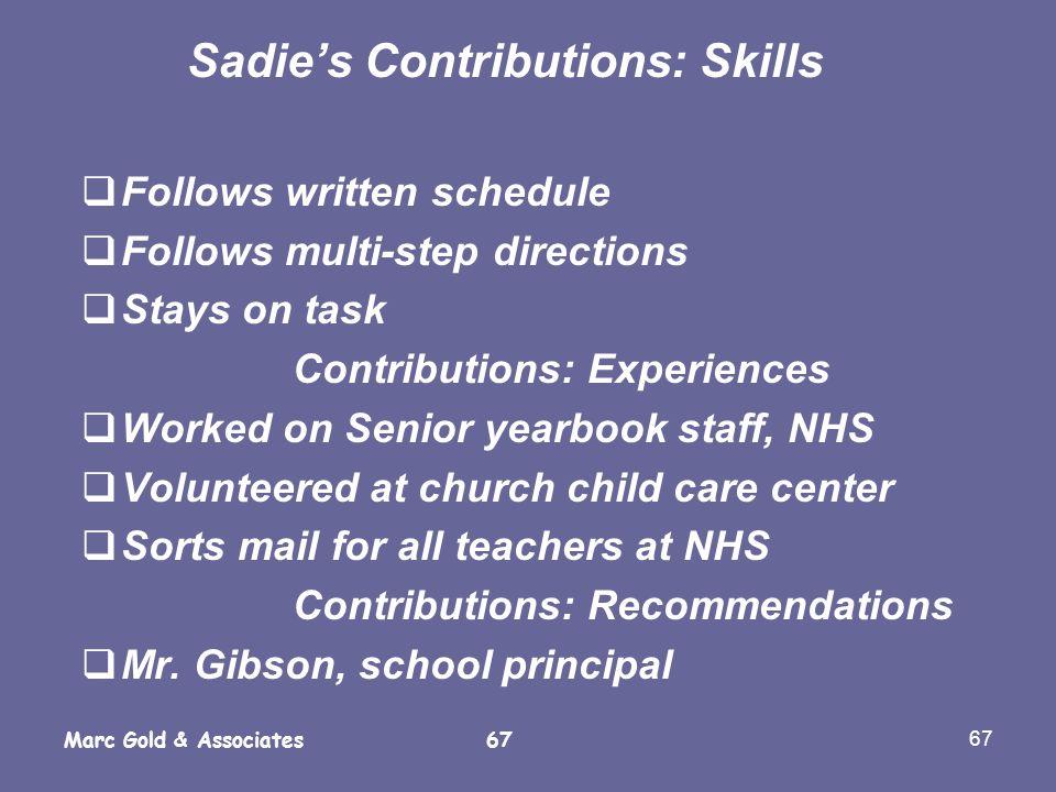 Sadie's Contributions: Skills