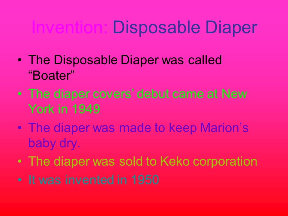 Invention: Disposable Diaper