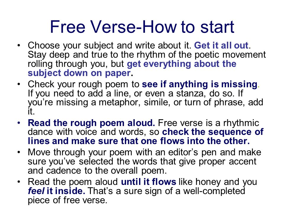 Free Verse-How to start