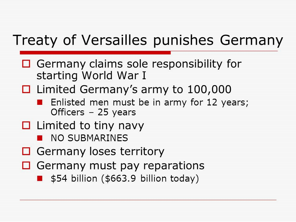 Treaty of Versailles punishes Germany