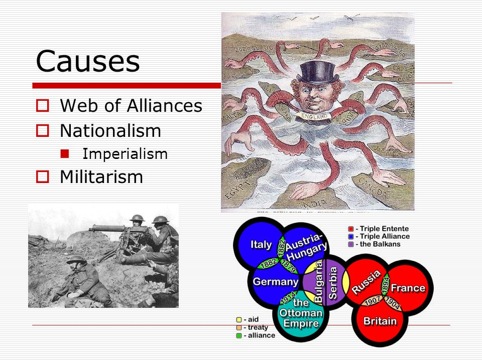 Causes Web of Alliances Nationalism Imperialism Militarism