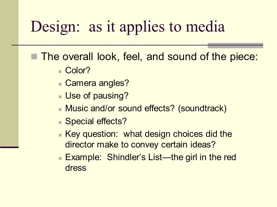 Design: as it applies to media