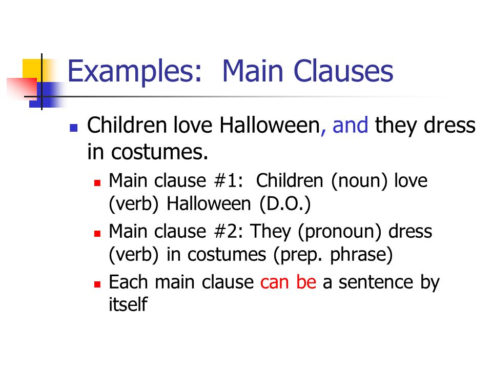 Examples: Main Clauses