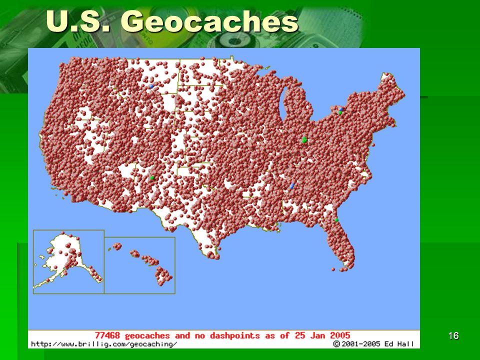 U.S. Geocaches In the U.S., close to 100-thousand geocaches