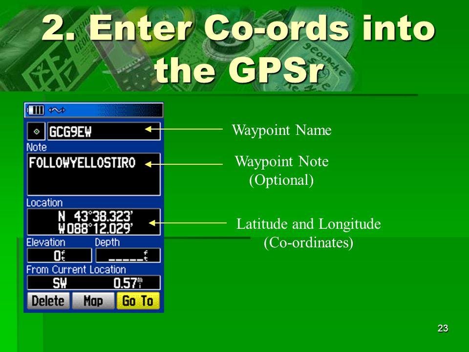 2. Enter Co-ords into the GPSr