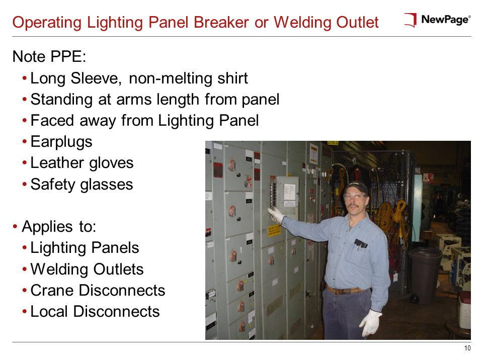 Operating Lighting Panel Breaker or Welding Outlet