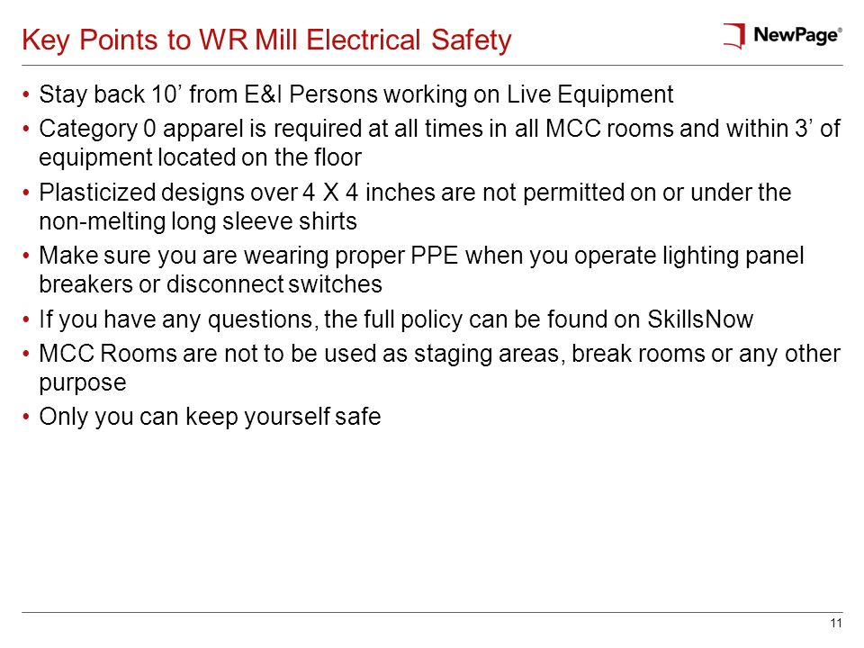 Key Points to WR Mill Electrical Safety