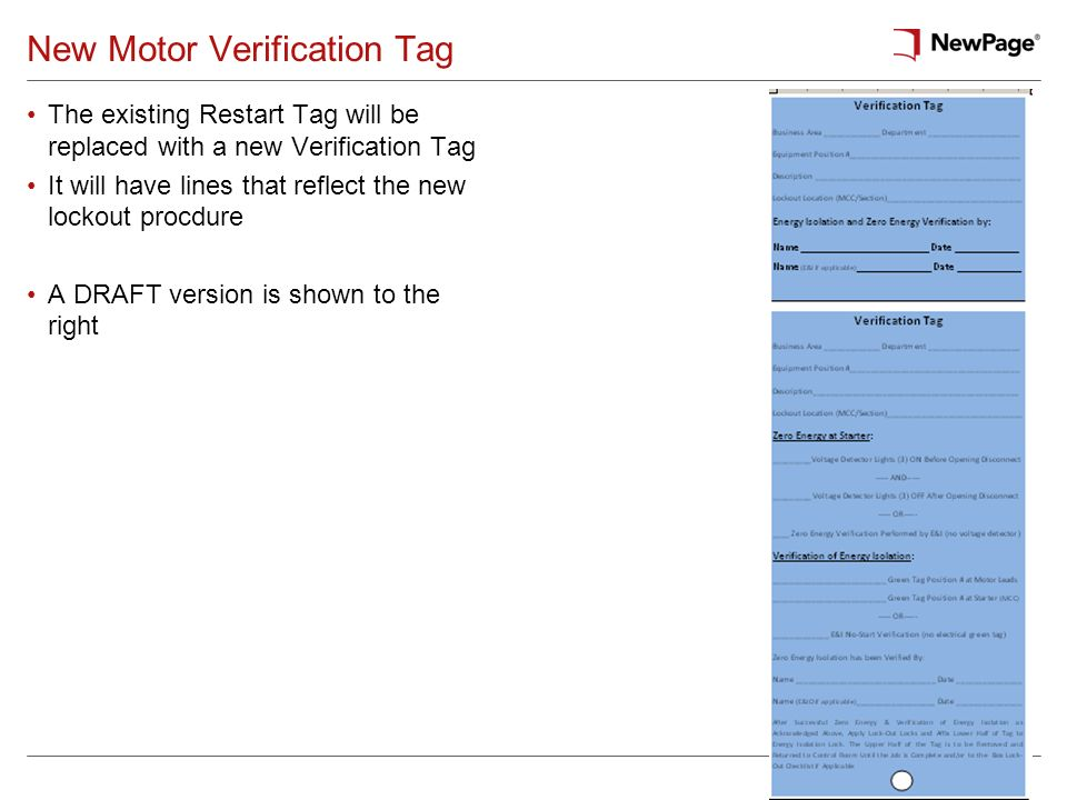 New Motor Verification Tag
