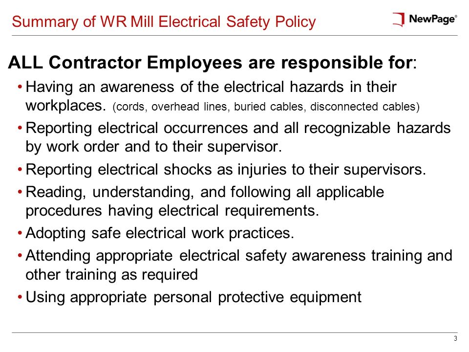 Summary of WR Mill Electrical Safety Policy