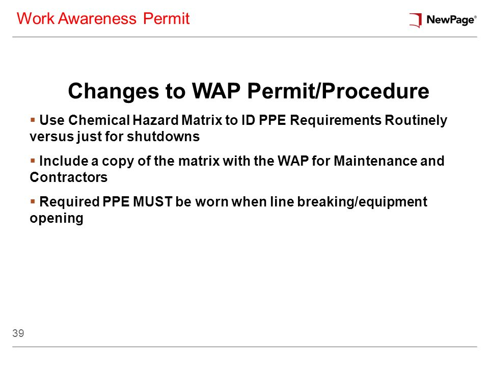 Changes to WAP Permit/Procedure