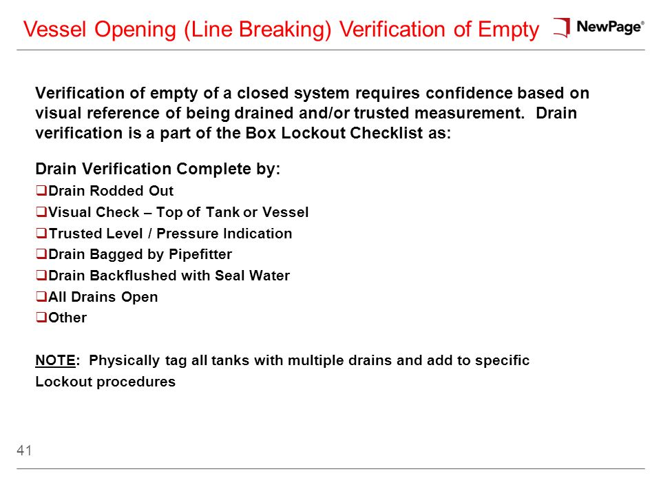 Vessel Opening (Line Breaking) Verification of Empty