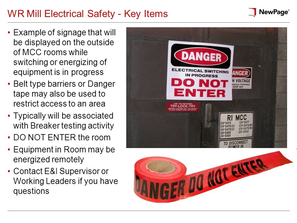 WR Mill Electrical Safety - Key Items