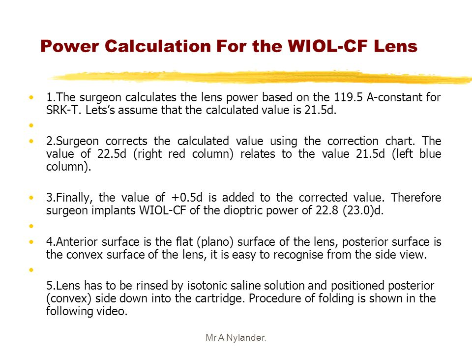 Power Calculation For the WIOL-CF Lens
