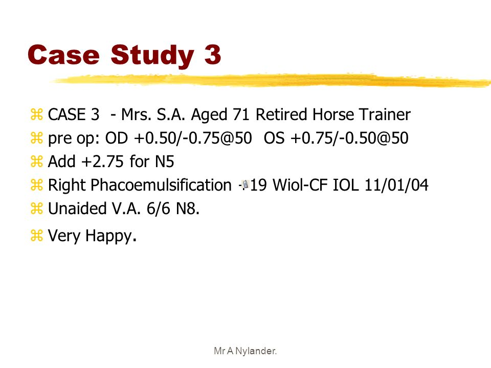 Case Study 3 CASE 3 - Mrs. S.A. Aged 71 Retired Horse Trainer