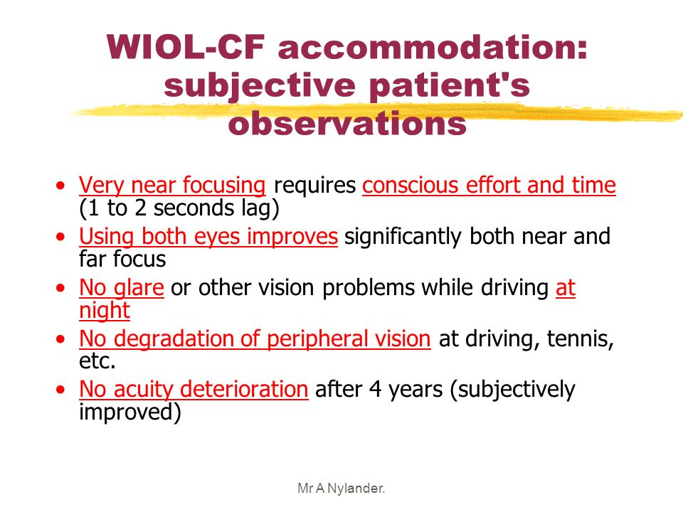 WIOL-CF accommodation: subjective patient s observations