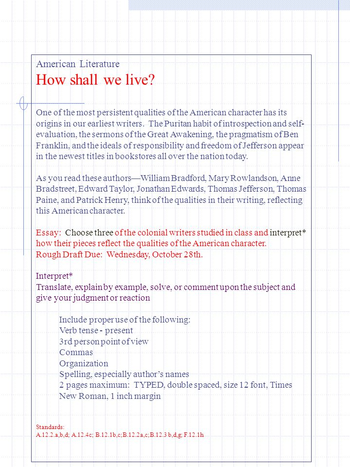 how shall we live american literature ppt video online  how shall we live american literature