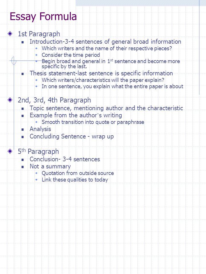 Essay Formula 1st Paragraph 2nd, 3rd, 4th Paragraph 5th Paragraph