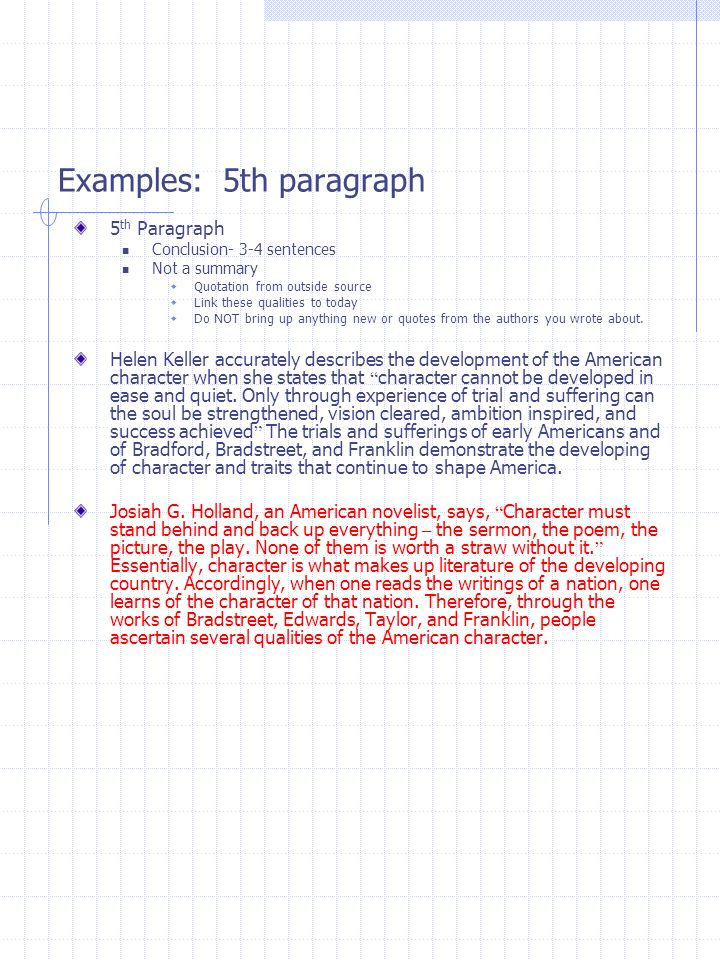 Examples: 5th paragraph
