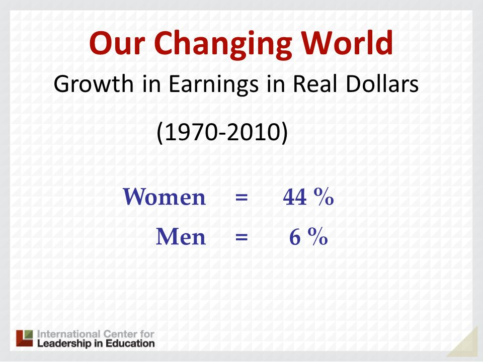 Our Changing World Growth in Earnings in Real Dollars (1970-2010)