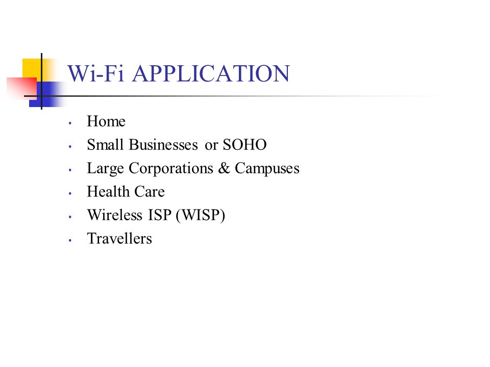 Wi-Fi APPLICATION Home Small Businesses or SOHO