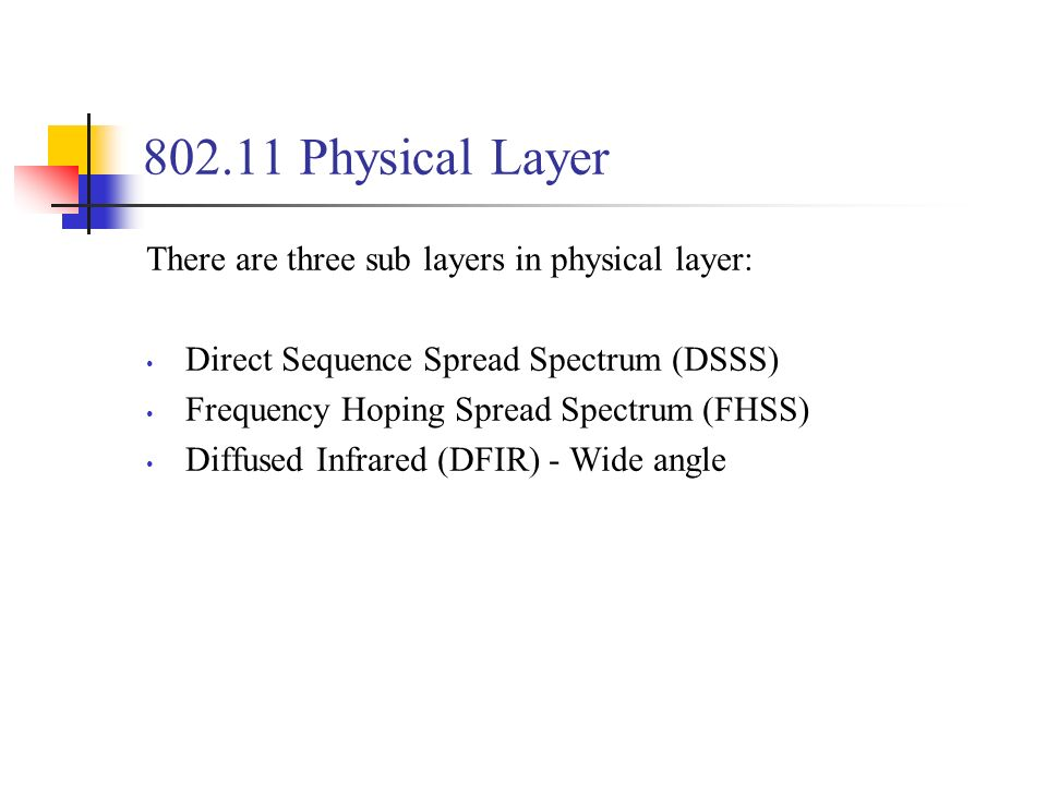 Physical Layer There are three sub layers in physical layer: