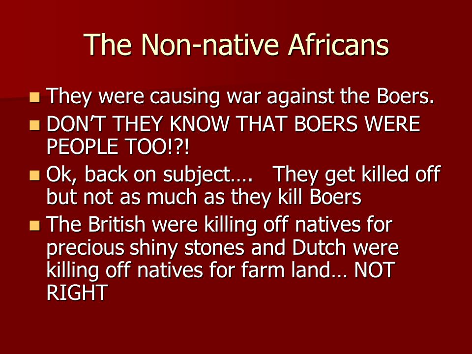 The Non-native Africans