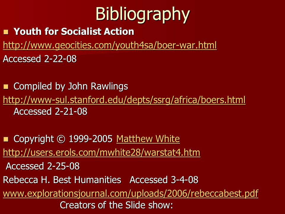 Bibliography Youth for Socialist Action