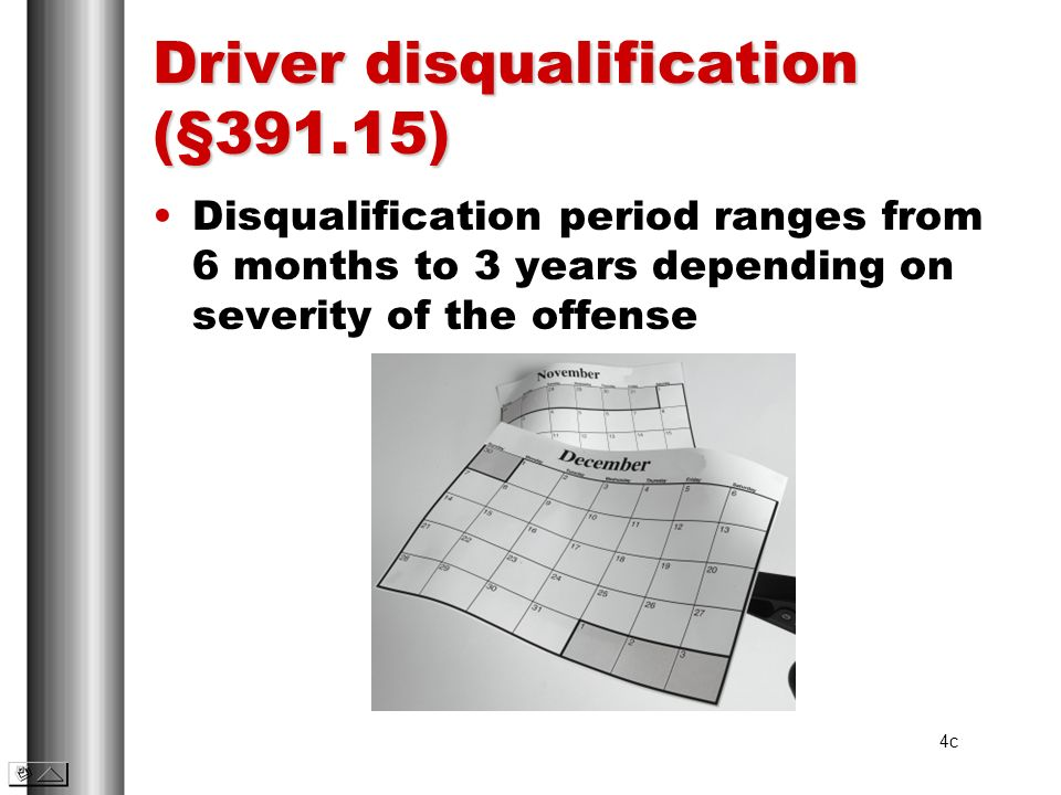 Driver disqualification (§391.15)