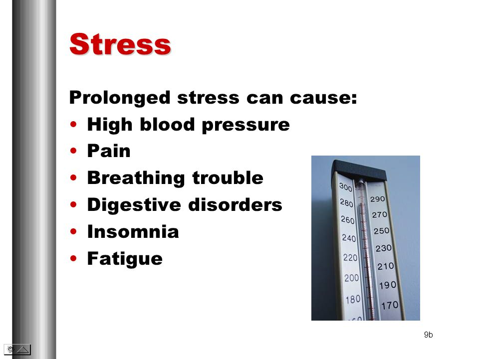 Stress Prolonged stress can cause: High blood pressure Pain