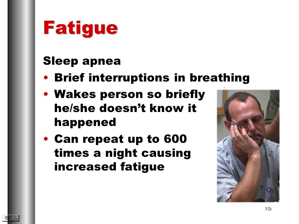 Fatigue Sleep apnea Brief interruptions in breathing