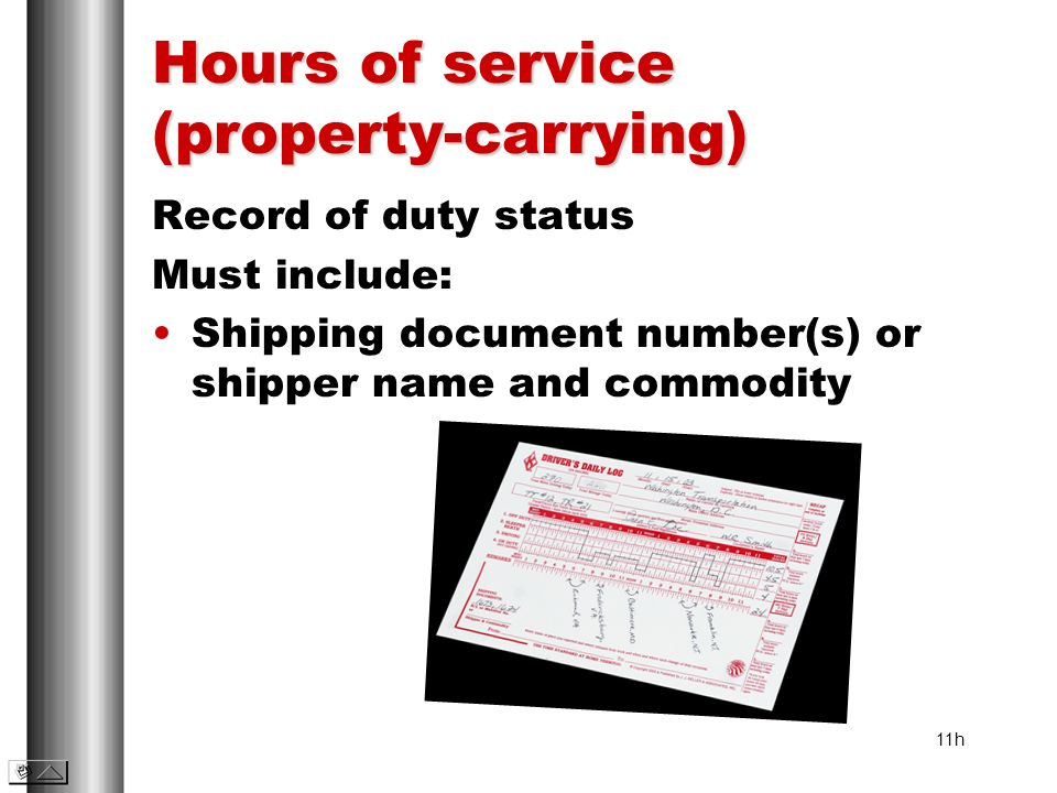 Hours of service (property-carrying)