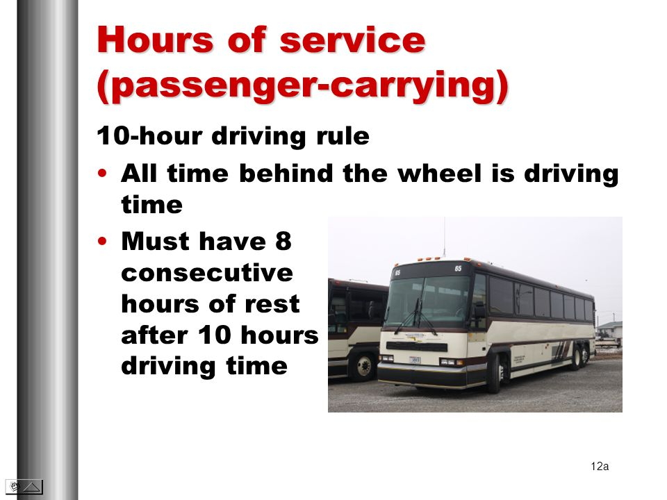 Hours of service (passenger-carrying)
