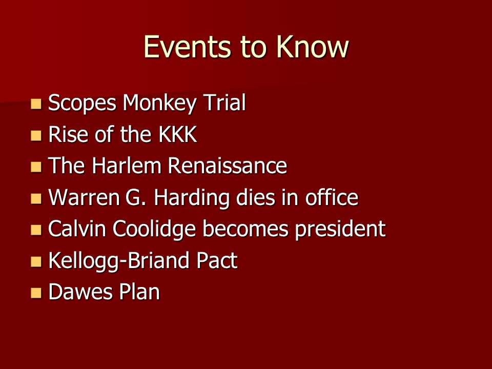 Events to Know Scopes Monkey Trial Rise of the KKK
