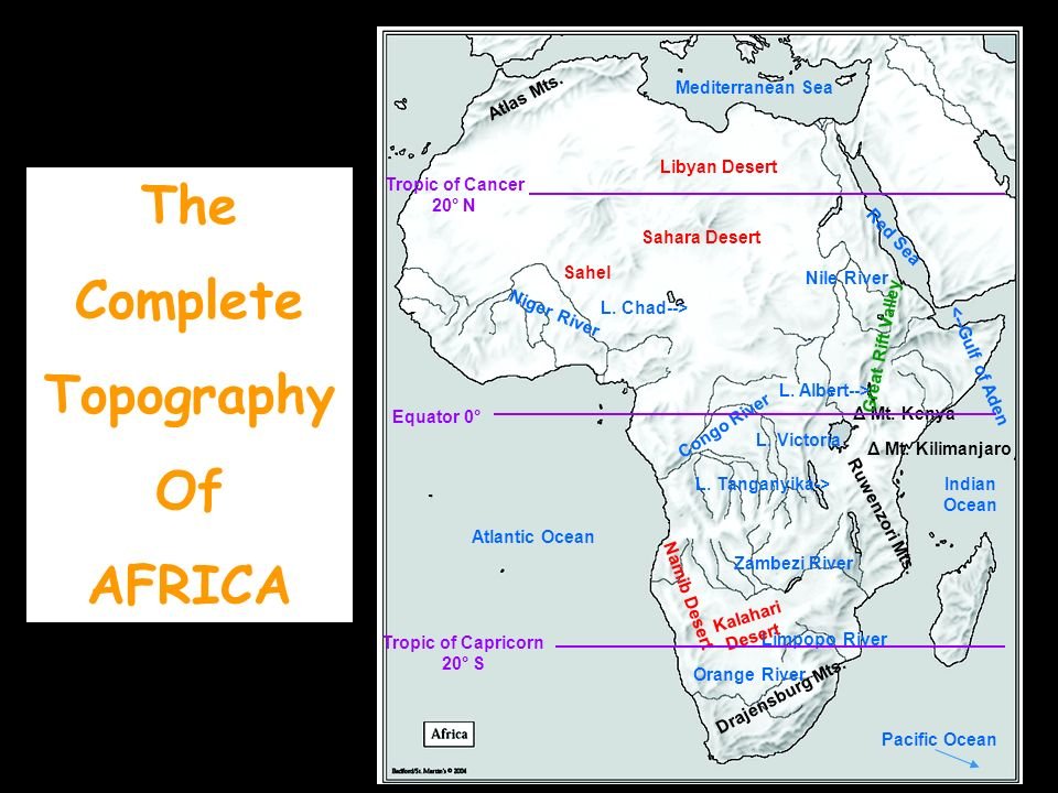 The Complete Topography Of AFRICA