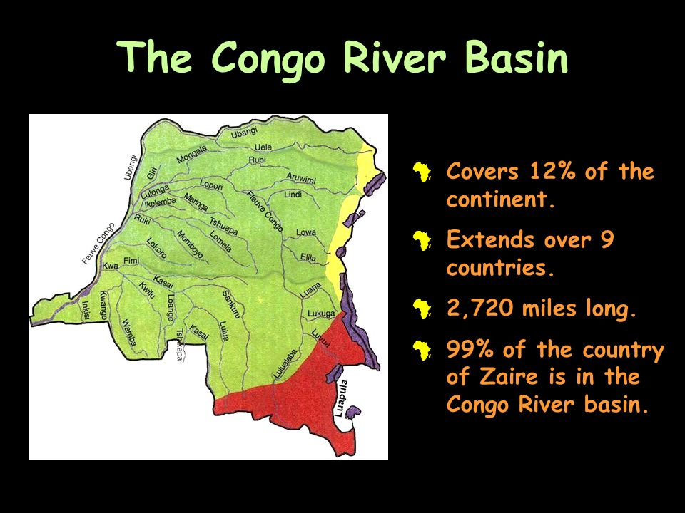 The Congo River Basin Covers 12% of the continent.