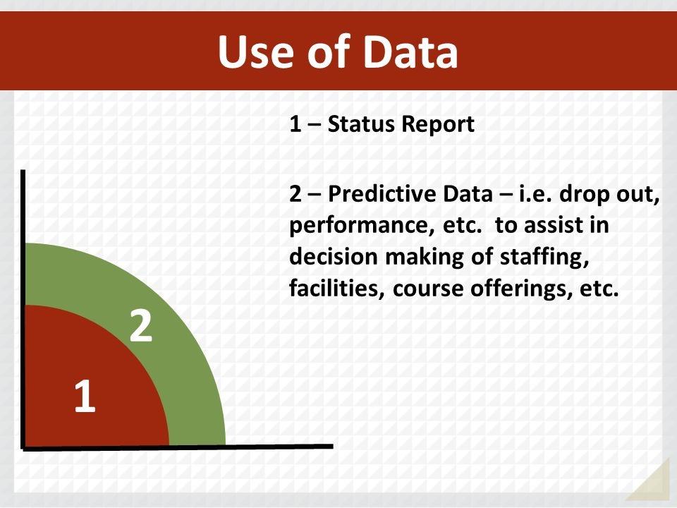 Use of Data 2 1 1 – Status Report