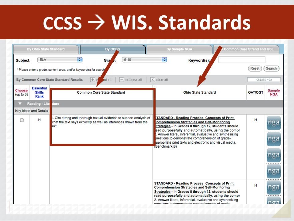 CCSS  WIS. Standards CCSS  GA. Standards