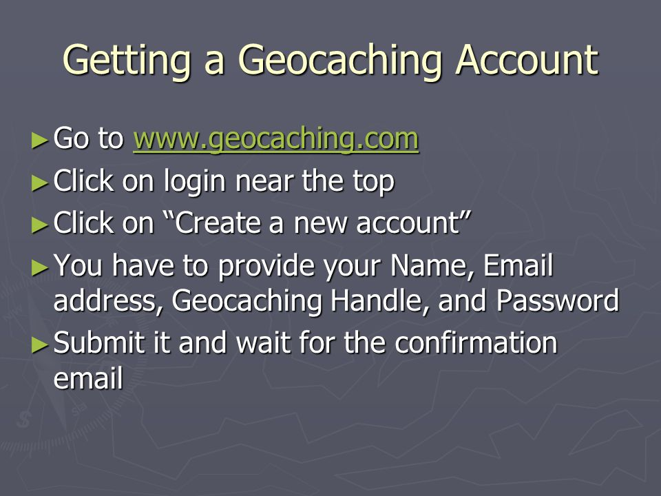 Getting a Geocaching Account