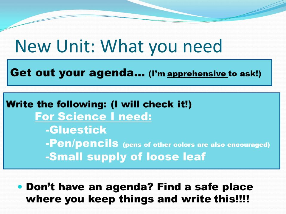 New Unit: What you need Get out your agenda… (I'm apprehensive to ask!)